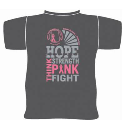 "GRAY ""THINK PINK"" SHORT SLEEVE SHIRT"